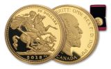 2018-C Canada $20 1-oz Silver 1908 Sovereign Design Gilt Proof