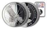 2019 Australia $1 1-oz Silver Wedge Tailed Eagle High Relief NGC PF70UC First Releases - Mercanti Signed Label