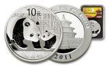 2011 China 10 Yuan 1-oz Silver Panda Shanghai Mint NGC MS70