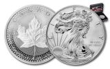 2019 United States & Canada 1-oz Silver Eagle & Maple Leaf Pride of Two Nations 2-Coin Royal Canadian Mint Set