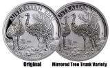 "2019 Australia $1 1-oz Silver Emu ""Mirrored Tree Trunk Variety"" NGC MS70 - Opera House Label"