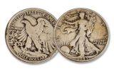 1941–1945 Silver Walking Liberty Half Dollar 5-Coin Set