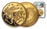 2019 China 88-gm Gold Unicorn Vault Protector NGC Gem Proof First Day of Issue w/Song Signature