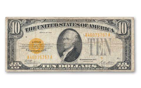 1928 10 Dollar Gold Certificate Note Fine | GovMint.com