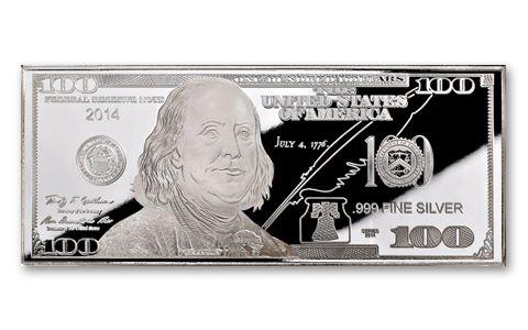 2014 100 dollar bill 1 oz silver franklin proof govmint com