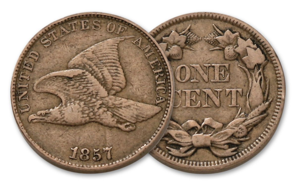 1857 1858 1 Cent Flying Eagle Fine Condition