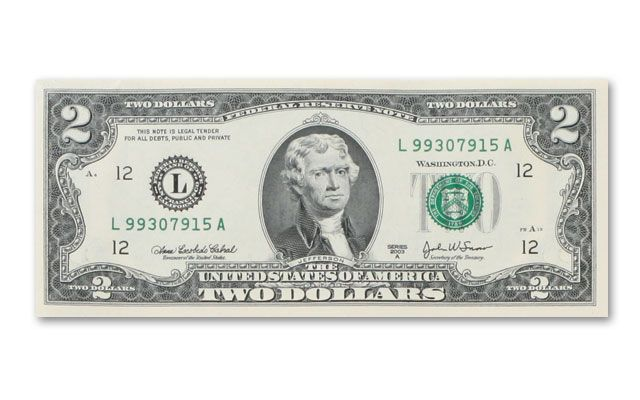 Uncut Sheet Of 2 Dollar Bills Sheet Of 16 Govmint Com