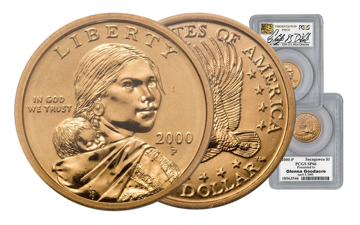 Fsh: pcgs sacagaweas- ms64 wounded eagle and sp67 goodacre.