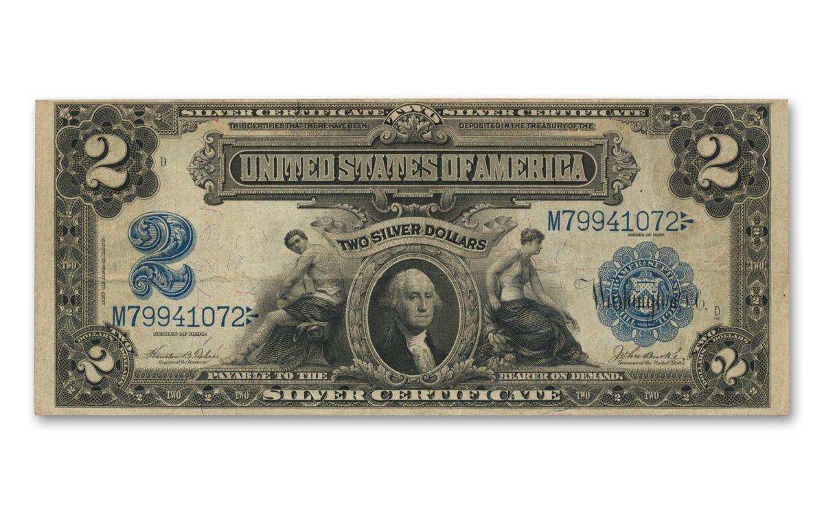 1899 2 Silver Certificate Vf Govmint