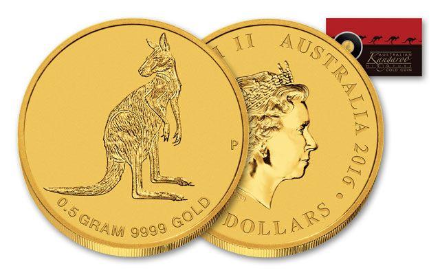 2016 Australian 2 Dollar Half Gram Gold Kangaroo Bu Coin