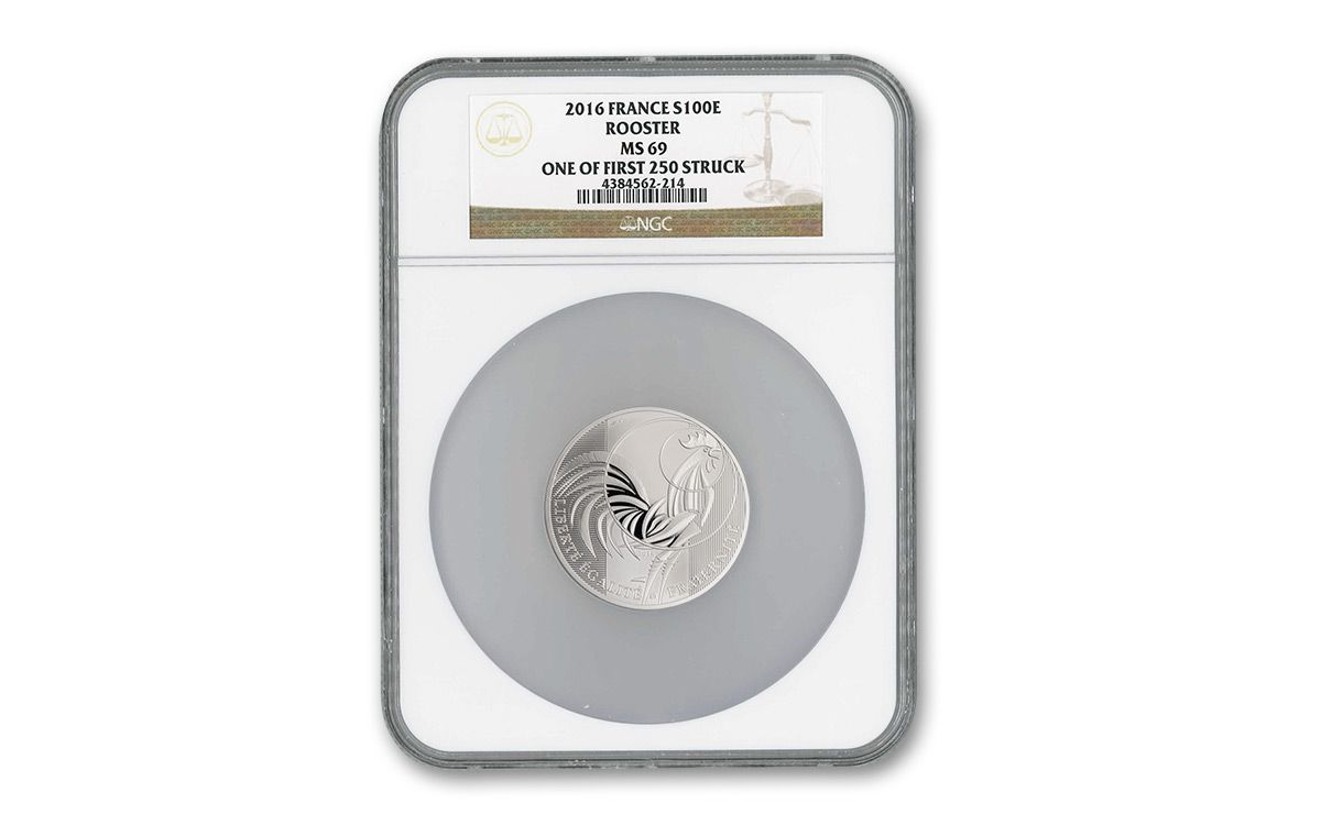2016 France 100e 50 Gram Silver Rooster Ngc Ms69 Fs Coin