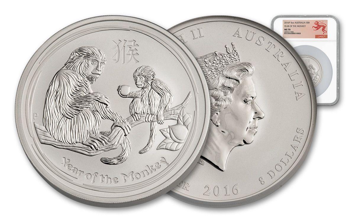 2016 Australia 8 Dollar 5 Oz Silver Lunar Monkey Ngc Ms70