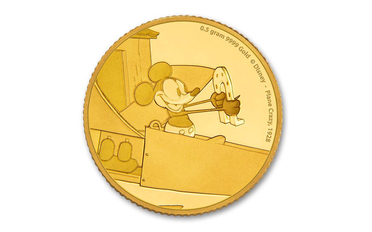 2016 Niue 2 5 Dollar Half Gram Gold Disney Mickey Plane