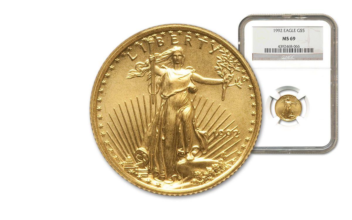 1992 5 Dollar 1 10 Oz Gold Eagle Ngc Ms69