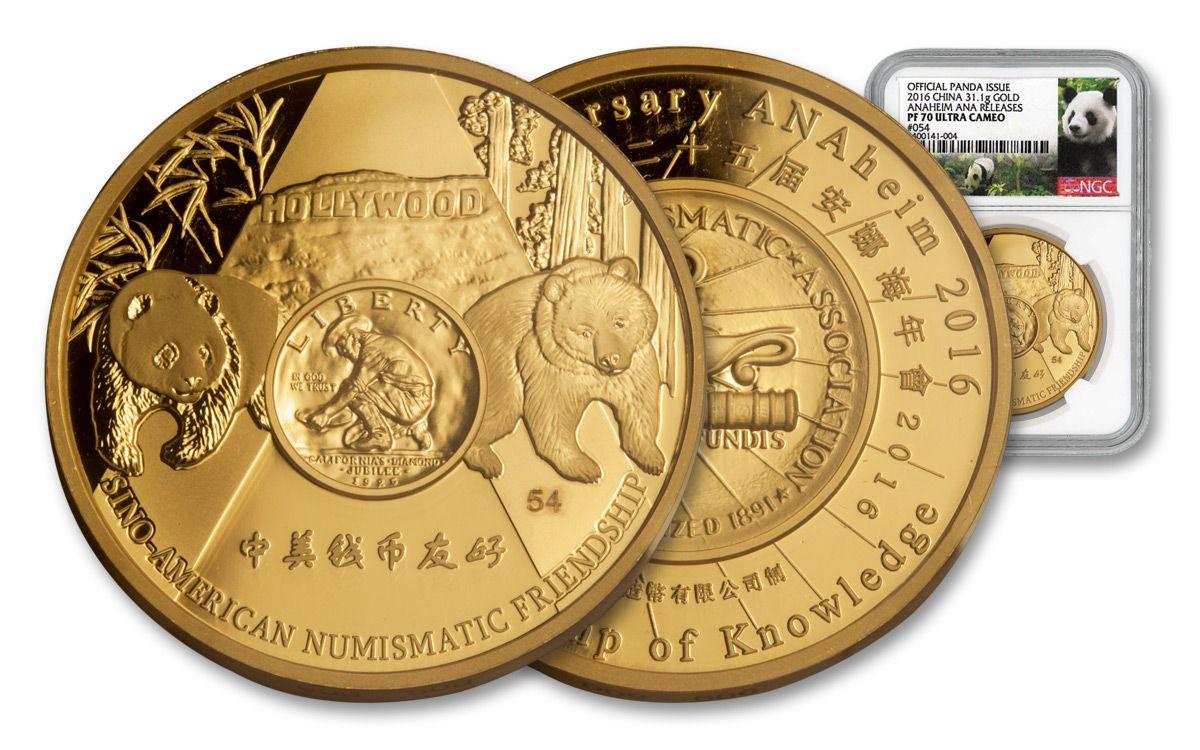 2016 Ana 1 Ounce Gold Panda Ngc Pf70uc