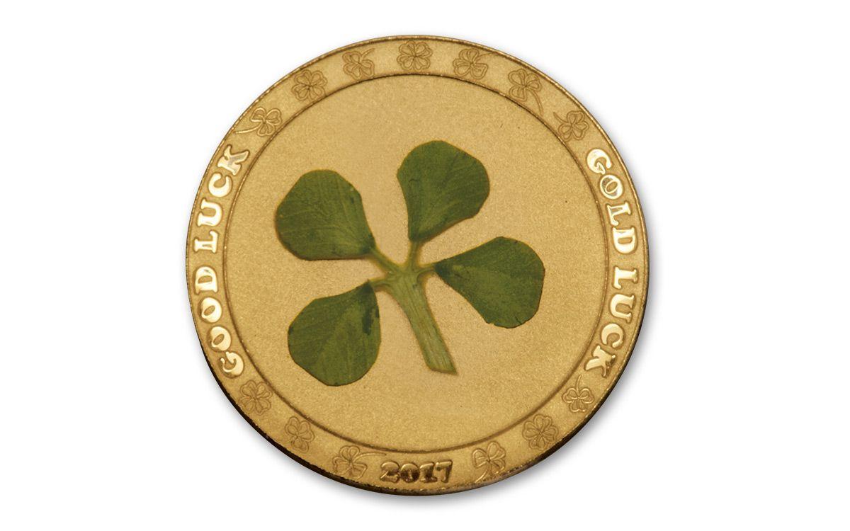 2017 Palau 1 Dollar 1 Gram Gold Four Leaf Clover Proof