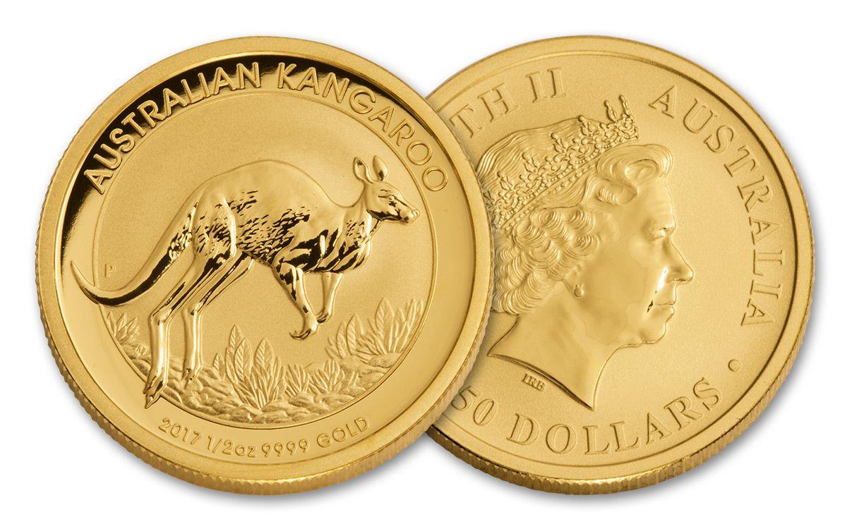2017 Australia 50 Dollar 1 2 Oz Gold Kangaroo Bu