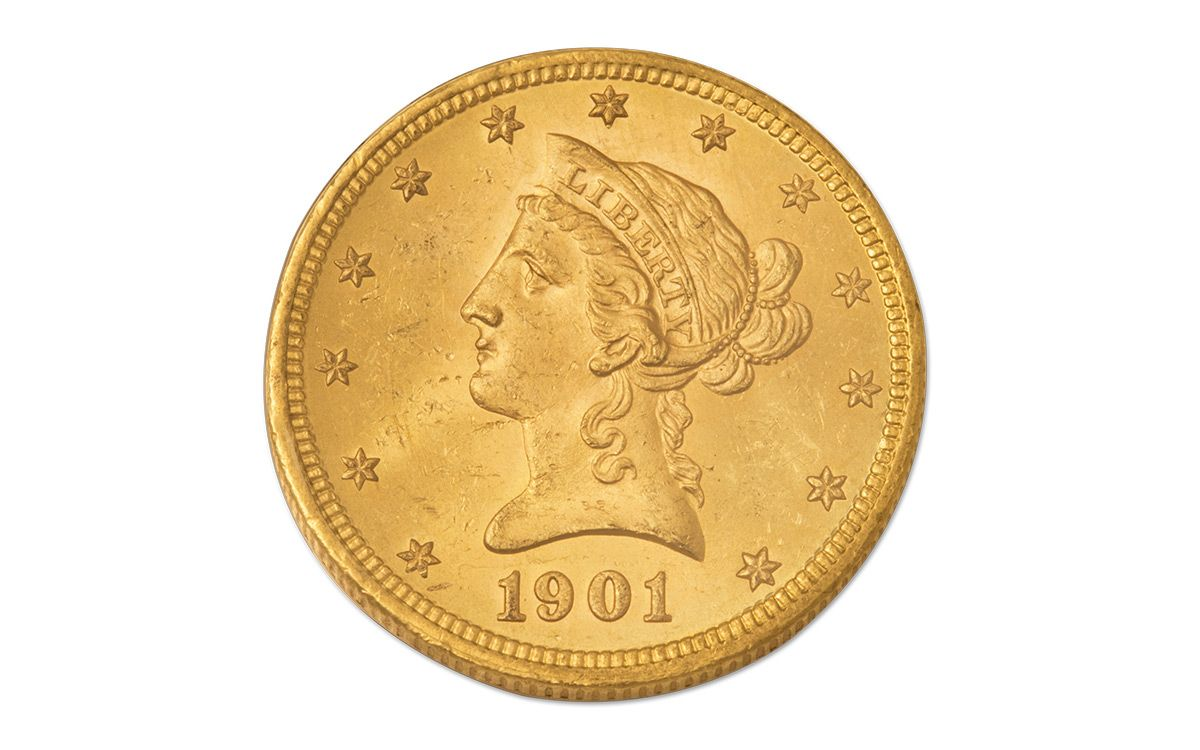 1901 S 10 Dollar Gold Liberty Pcgs Ms63 With Motto