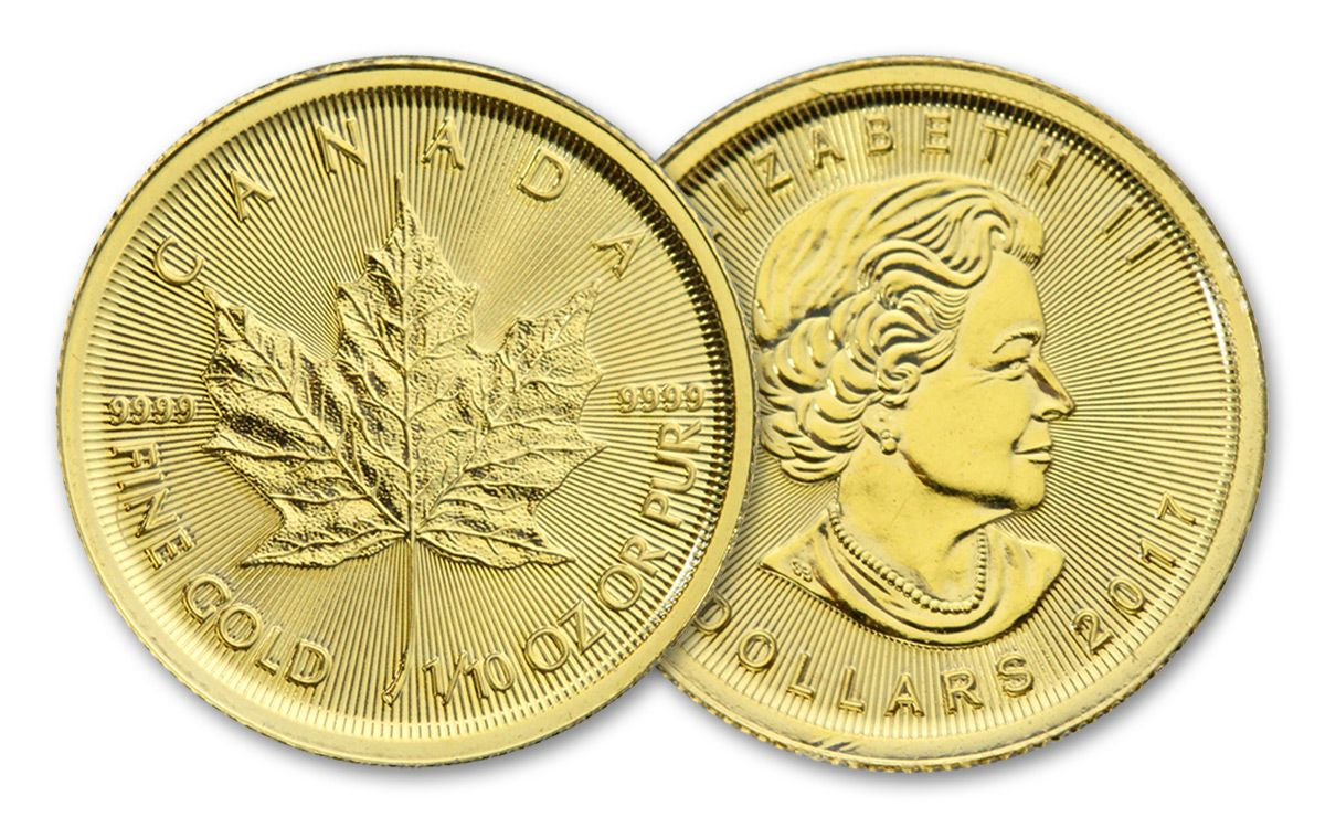 2017 Canada 5 Dollar 1 10 Oz Gold Maple Leaf Bu
