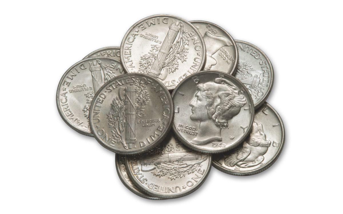 1942 Mercury Dime Bu 10 Coin Roll Govmint