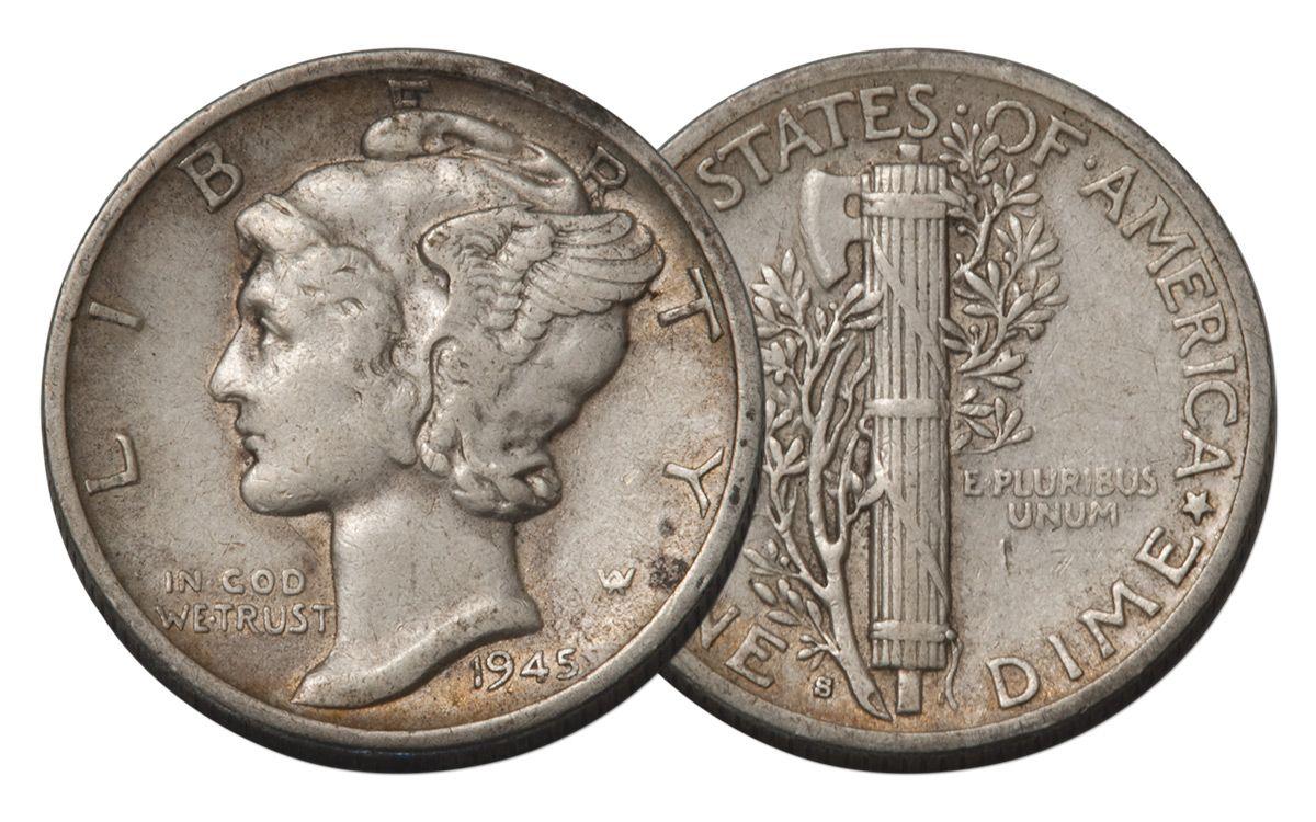 1945 S 10 Cent Mercury Dime Micro S Vg Govmint