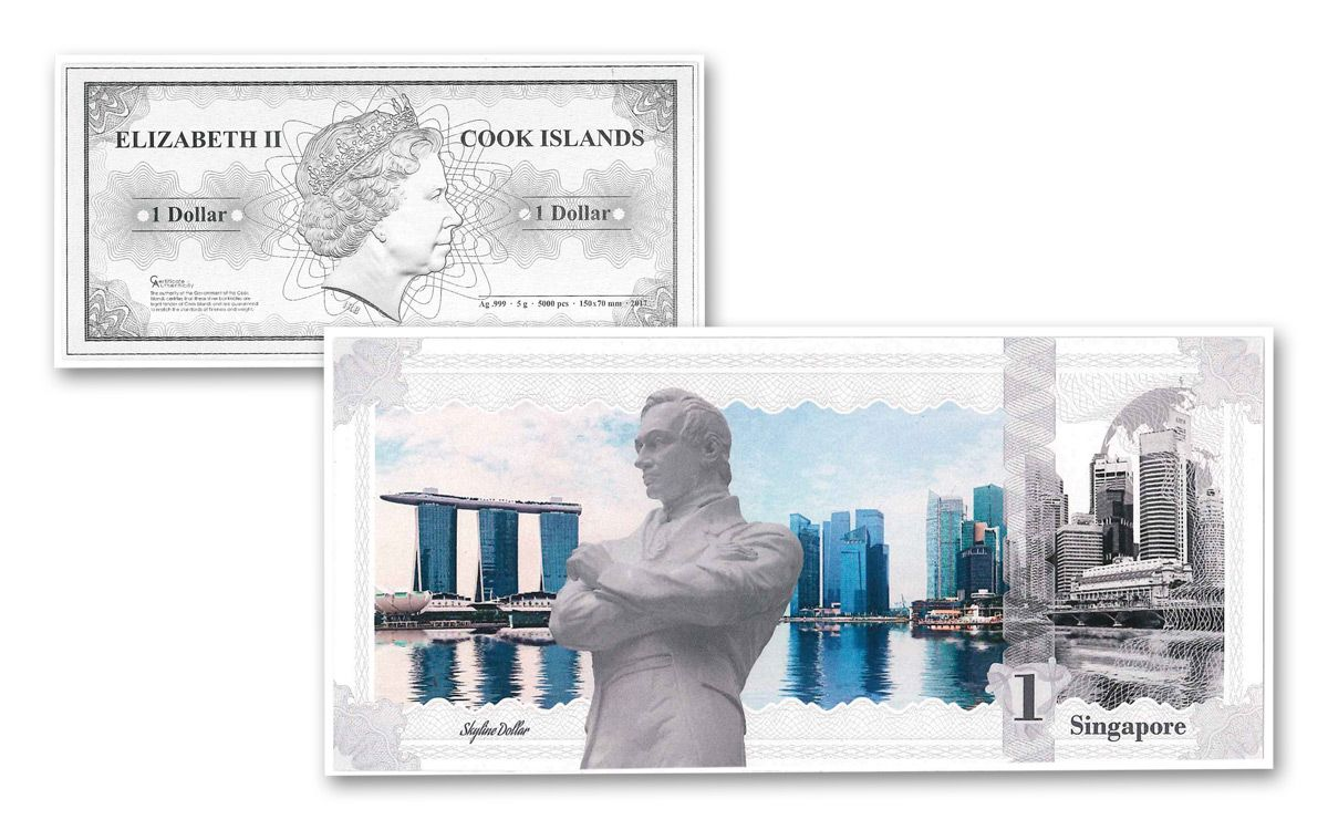 2017 Ck 5 Grams Silver Singapore Skyline Dollar Note