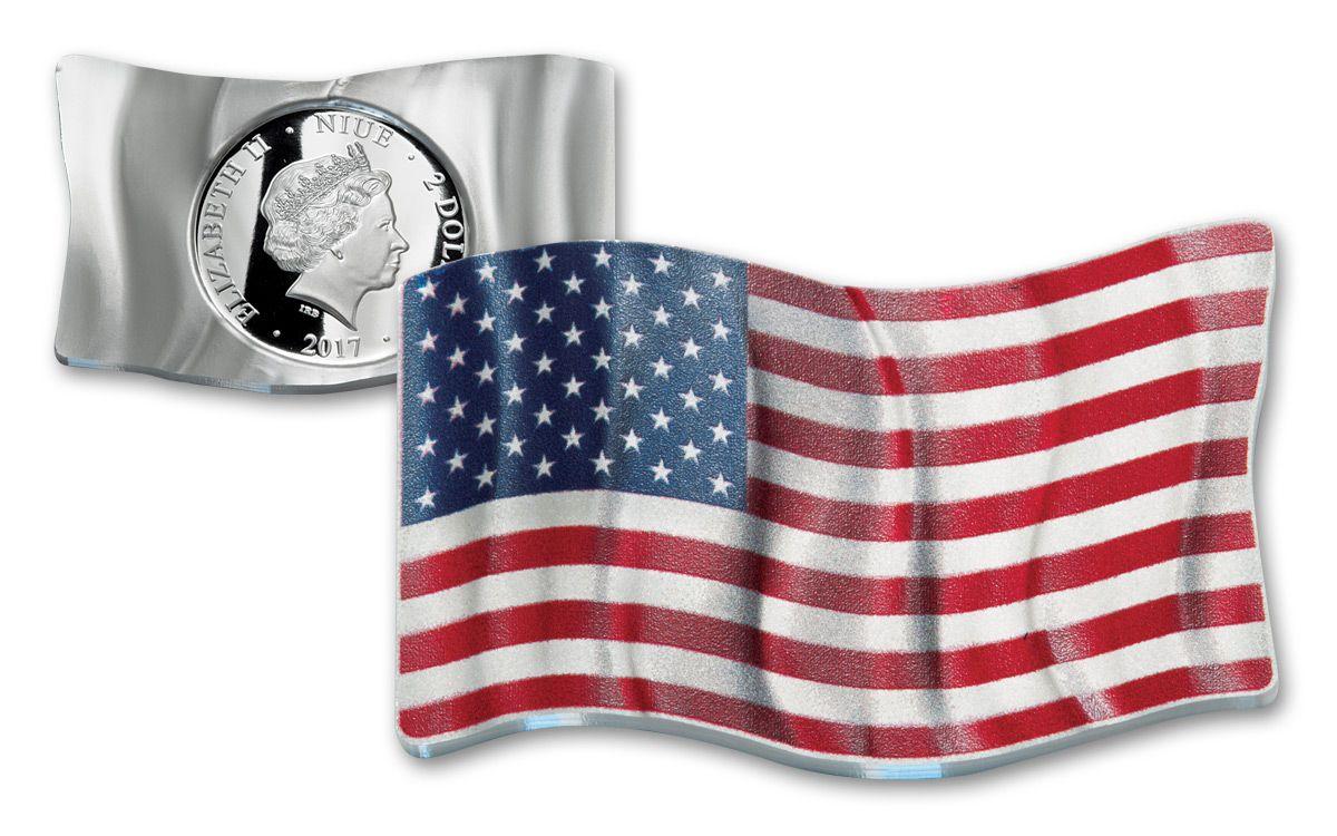 2017 Niue 1 Oz Silver Waving American Flag Proof Coin