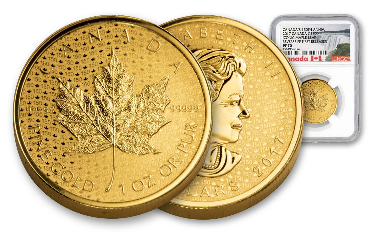 2017 Canada 200 Dollar 1 Oz Gold Maple Leaf 150th Anniversary Reverse Ngc Pf70 First Release
