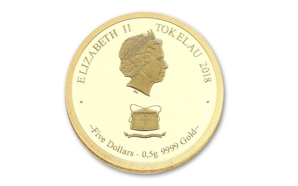2018 Tokelau 5 Dollar 1 2 Gram Gold Year Of The Dog Proof