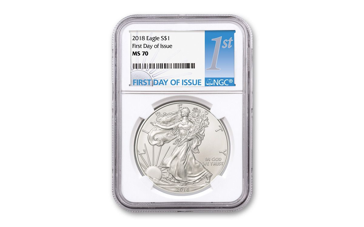 2018 Silver Eagle Ngc Ms70 First Day Of Issue Core