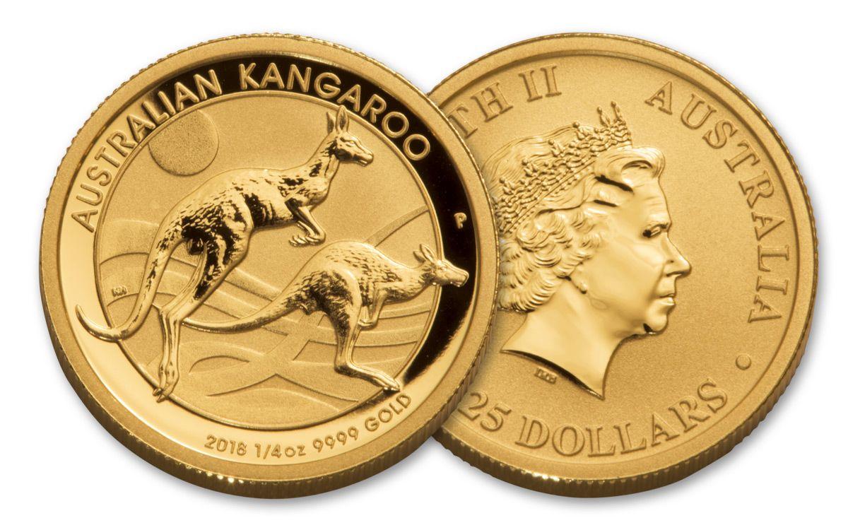 2018 Australia 25 Dollar 1 4 Oz Gold Kangaroo Brilliant Uncirculated