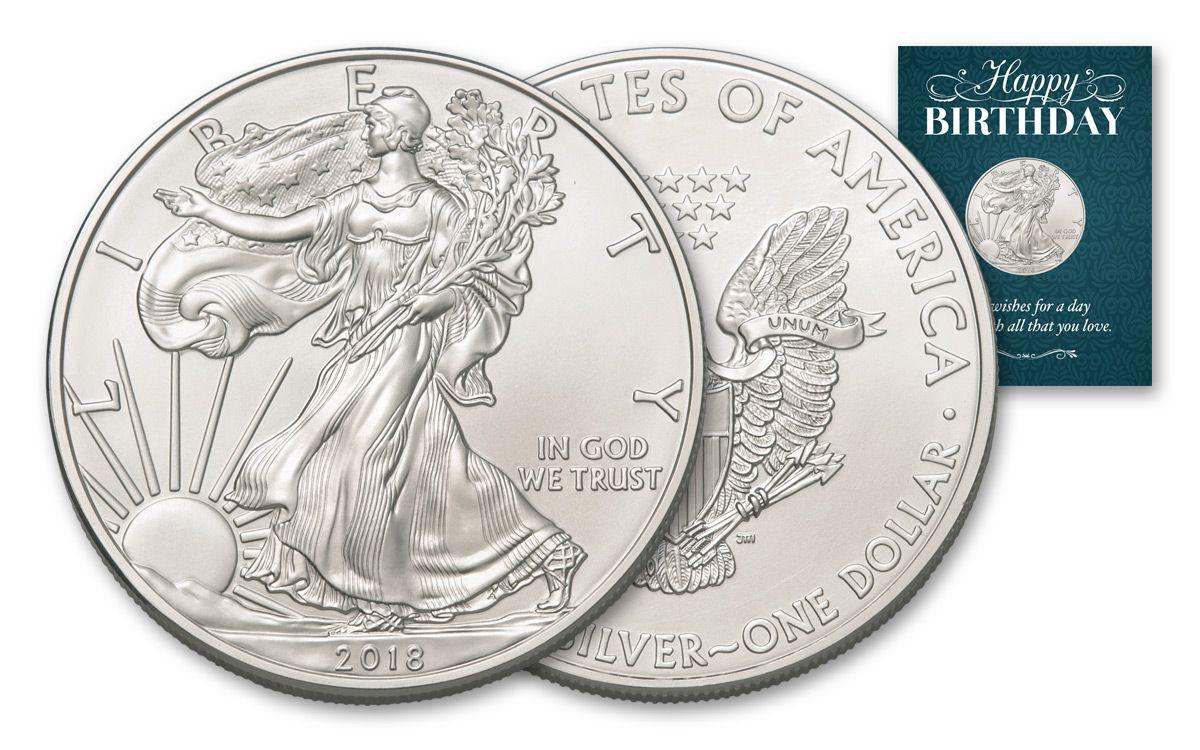 2018 Us 1 Oz Silver Eagle Bullion Coin Bu Blue Birthday Card Bar Liberty Walking 1oz Dollar Traditional