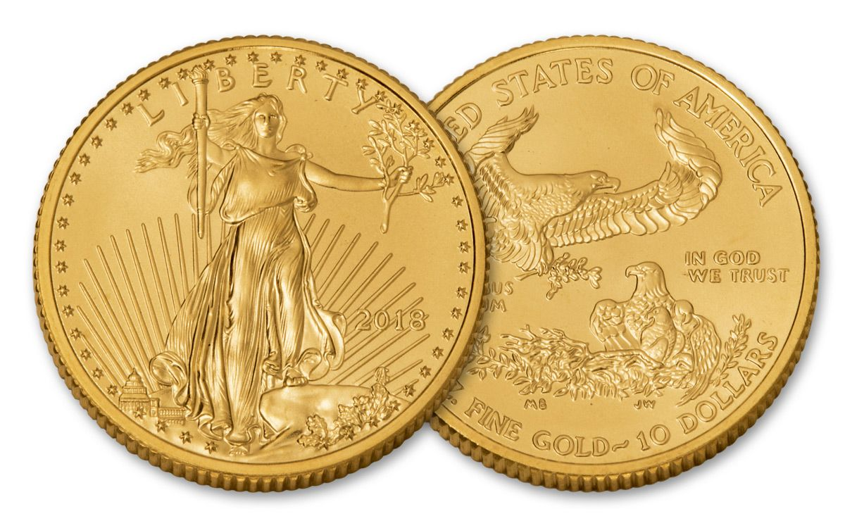 2018 10 Dollar 1 4 Oz Gold Eagle Bu