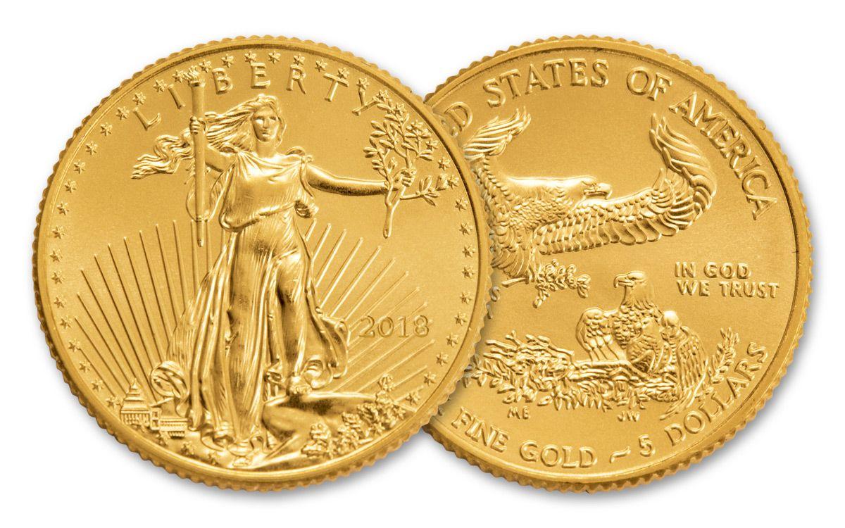 2018 5 Dollar 1 10 Oz Gold Eagle Bu