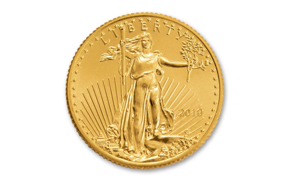 2018 5 Dollar 1 10 Oz Gold Eagle Roll Bu 50 Coin