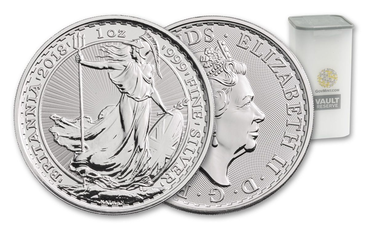 2018 Uk 1 Oz Silver Britannia 25 Coin Roll Vault Reserve