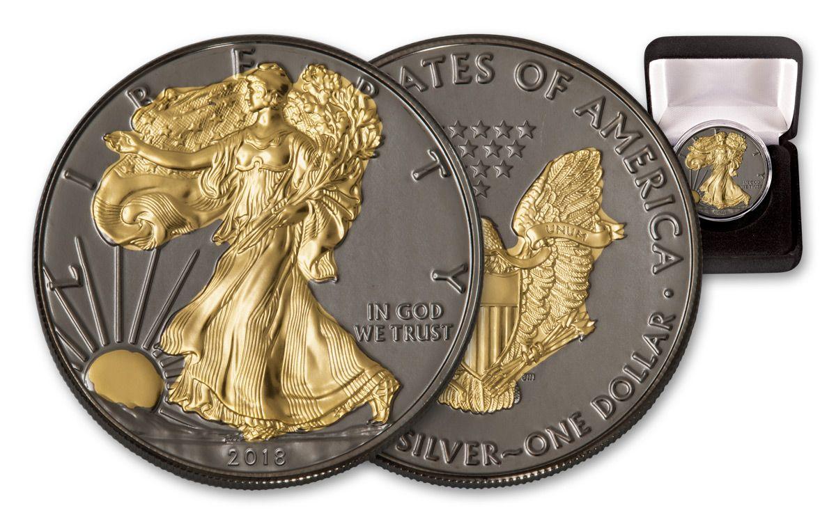 2018 Us 1 Oz Silver Eagle Coin Ruthenium Gold Gilded Bu Govmintcom