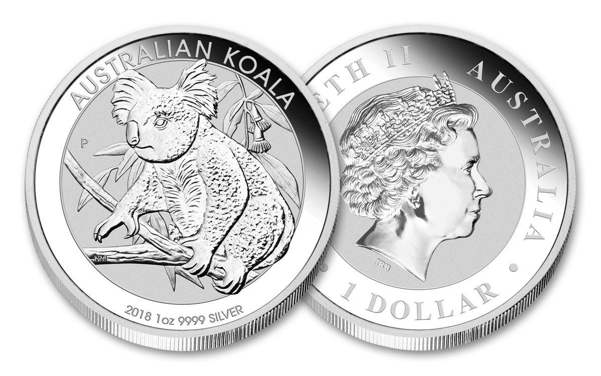 2018 Australia 1 Dollar Oz Silver Koala Uncirculated
