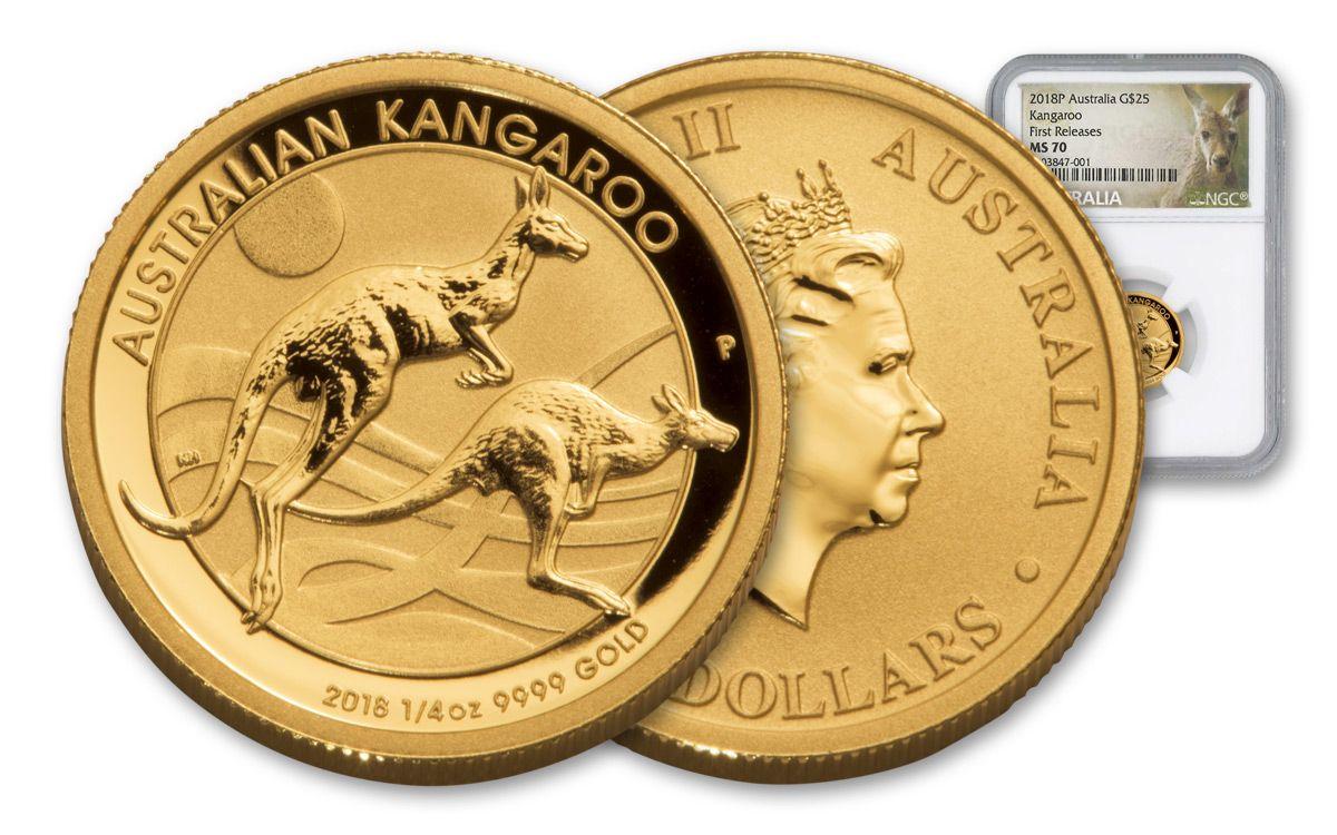 2018 Australia 1 4 Oz Gold Kangaroo Bullion Coin NGC MS70FR