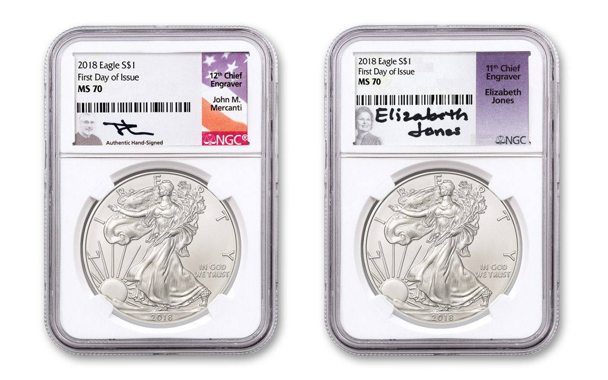 Duo 2018 W Silver Eagle Struck At West Point Pcgs Ms70 First Day Of Issue Mercanti Signed