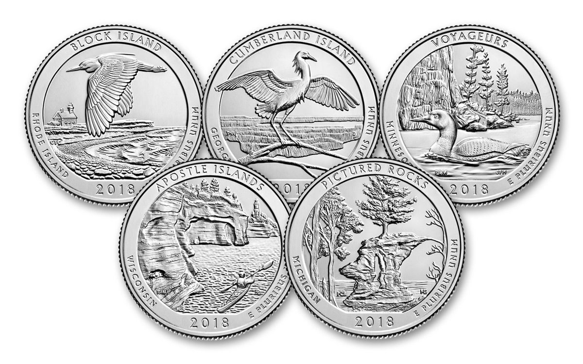 2018 us america the beautiful quarters 5coin proof set