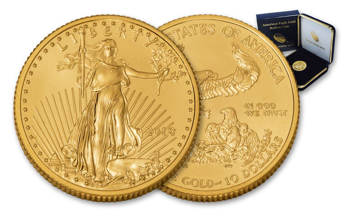 2018 10 Dollar 1 4 Oz Gold Eagle Bullion Coin Mint Case Bu