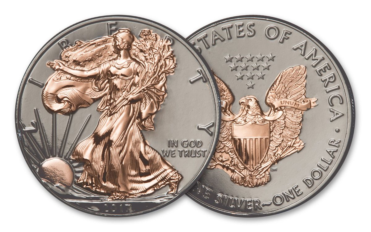 2017 Us 1 Oz Silver Eagle Coin Ruthenium Rose Gold Gilded