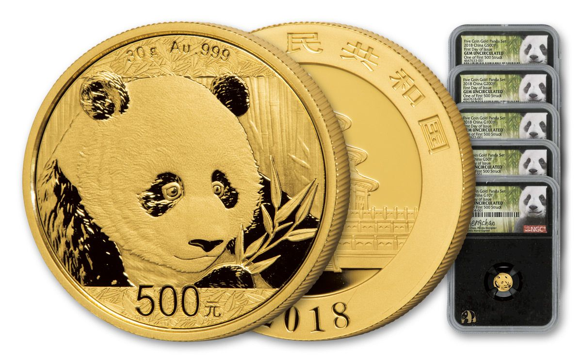 2018 China Gold Panda Prestige Set Ngc Gem First Day Of Issue Chao Signed Black