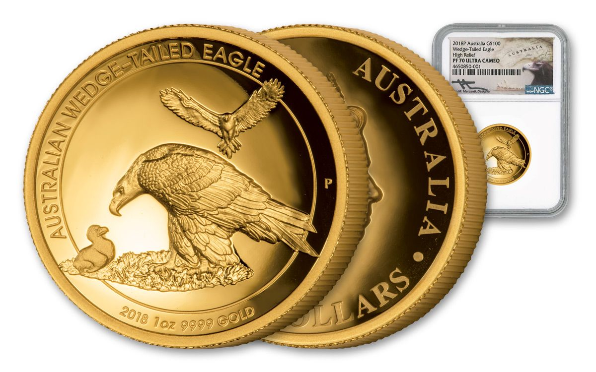 2018 Australia 100 Dollar 1 Oz Gold Wedge Tailed Eagle High Relief Ngc Pf70ucam Mercanti Signed