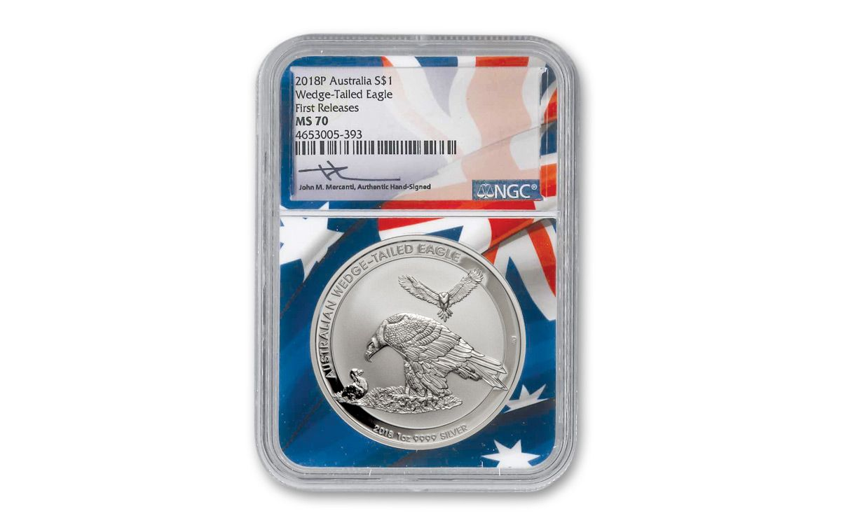 2018 Silver Eagle Ngc Ms70 Early Release Flag Label Black Core