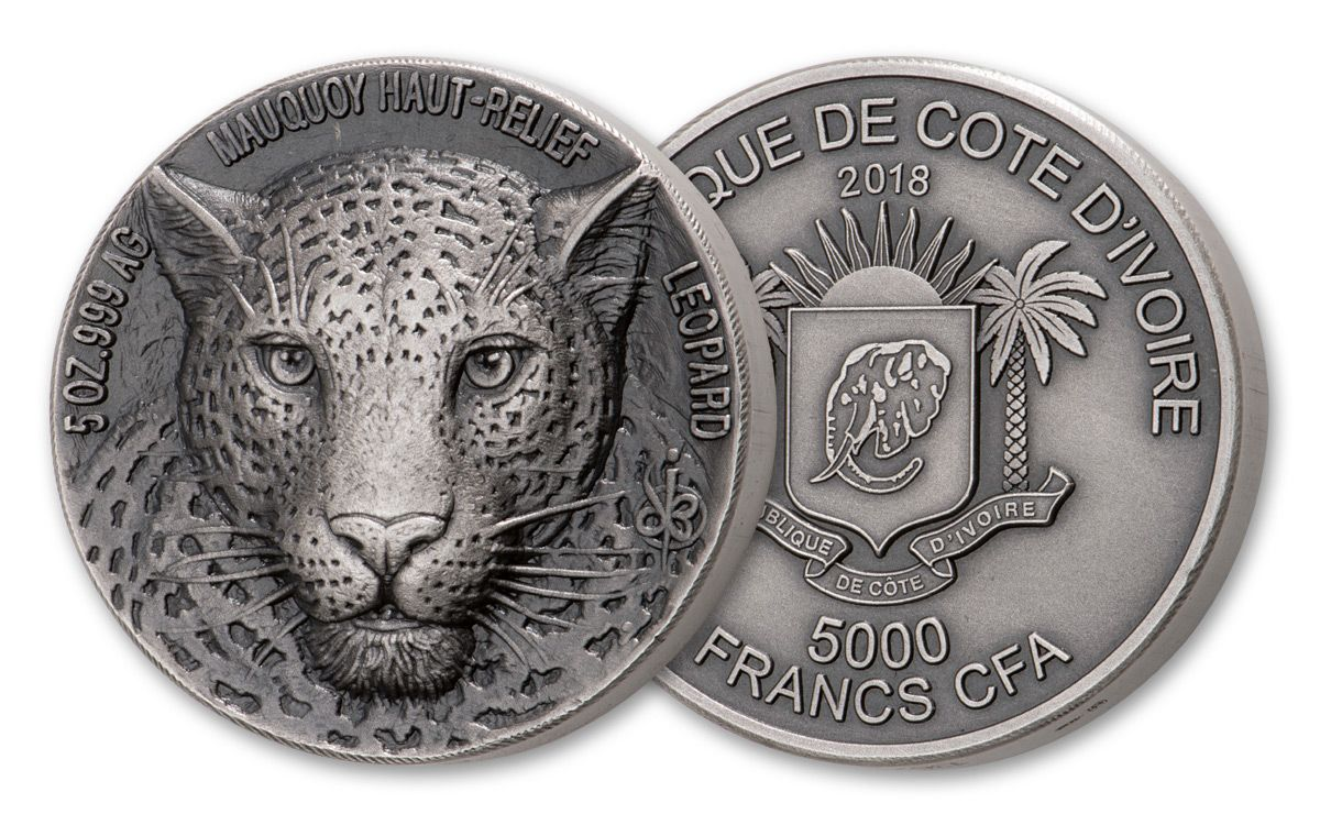 2018 Ivory Coast 5000 Francs 5 Ounce Silver Leopard High Relief Antiqued Unc