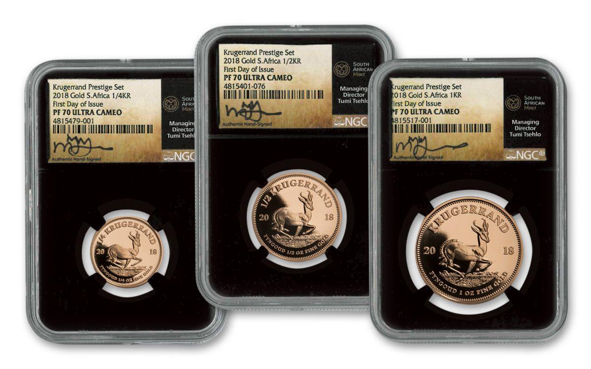 2018 South Africa Gold Krugerrand Prestige Ngc Pf70ucam Fdi Tumi Signed 6pc Set Black