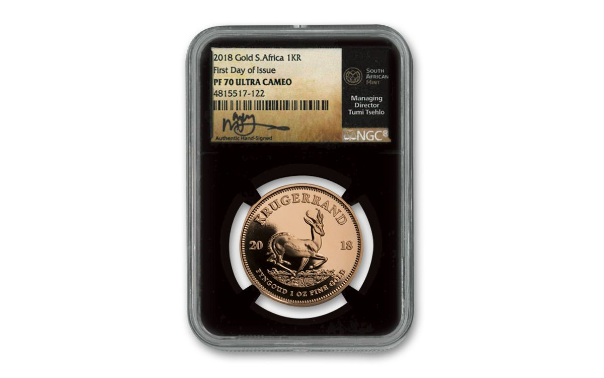 2018 South Africa 1 Oz Gold Krugerrand Ngc Pf70ucam First Day Of Issue Tumi Signed