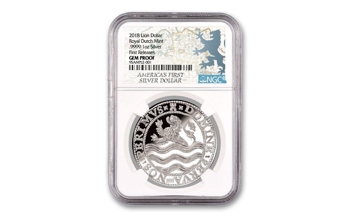 2018 Netherlands Proof Lion Dollar 1 Oz Silver Ngc Gem Pf Fr White